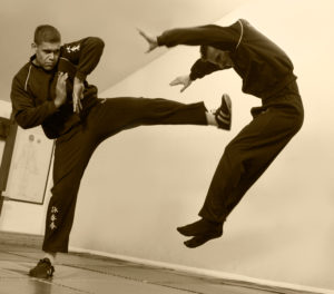 Bedford Wing Chun students train kicks as well as close range hand skills